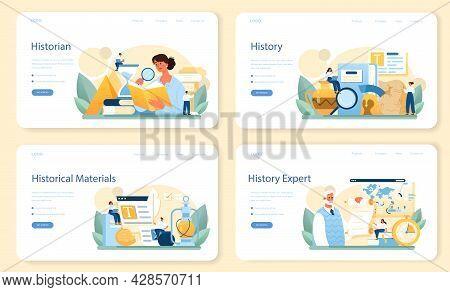 Historian Web Banner Or Landing Page Set. History Science, Paleontology