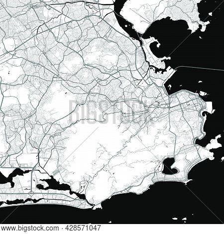 Urban City Map Of Rio De Janeiro. Vector Illustration, Rio De Janeiro Map Grayscale Art Poster. Stre
