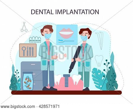 Dentist Concept. Dental Doctor In Uniform Implanting Human Teeth