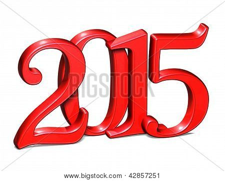 3D Red Year 2015 On White Background