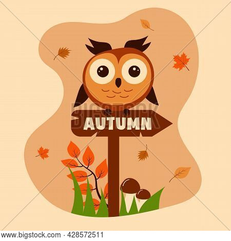 Сute Owl Sitting On The Sign With The Inscription Autumn. Autumn Leaves, Mushrooms, Grass And A Bran