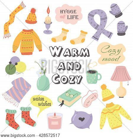 Autumn Or Winter Cozy Cute Things And Objects. Warm And Cozy. Cozy And Comfortable Lifestyle. Flat S