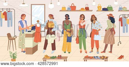 Queue At Checkout In Clothing, Footwear, Accessories Store, Woman At Cash Desk Standing In Line, Sho