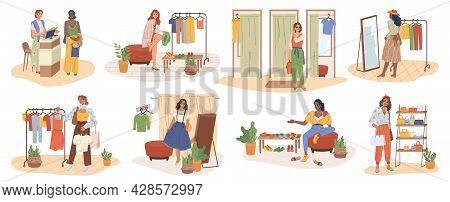 Women Shopping, Cloth Shop Store Interior, People Flat Cartoon Vector. Vector Buyer And Shop Assista
