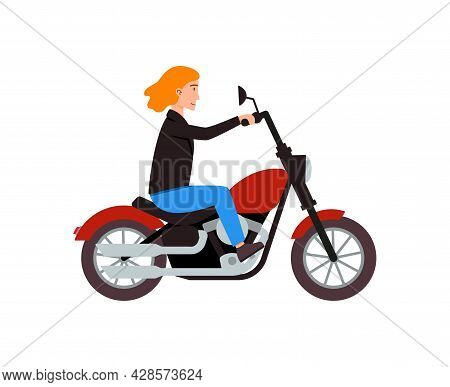 Motorcyclist Riding On Red Motorbike At City Road A Vector Illustration.