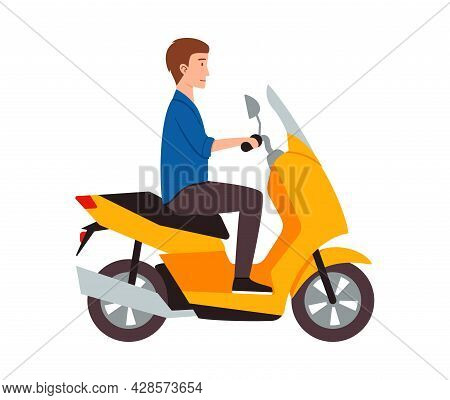 Male Motorcyclist Riding On Yellow Motorbike A Vector Illustration.