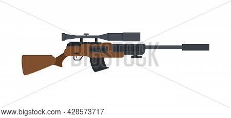Military Sniper Rifle With Optical Scope And Wooden Butt A Vector Illustration