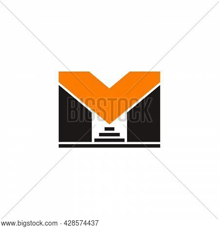 Letter Mv Construction Staircase Buildings Logo Vector