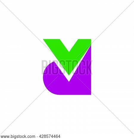 Letter Vd Simple Geometric Colorful Logo Vector