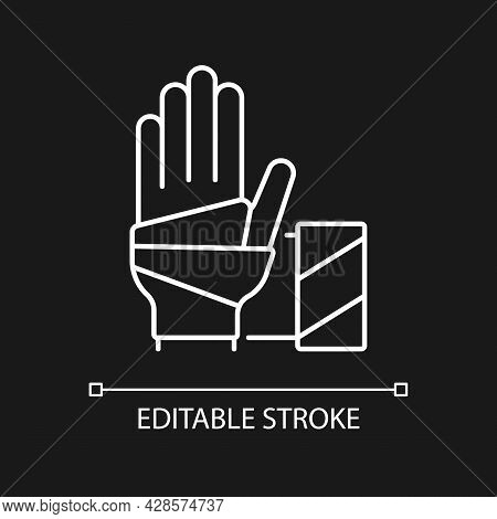 Medical Bandage White Linear Icon For Dark Theme. Bandaged Hand. Sterile Wound Dressing. Thin Line C