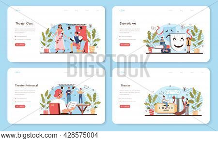 Drama School Class Or Club Web Banner Or Landing Page Set. Students Playing