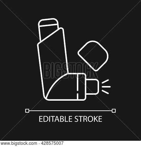 Inhaler White Linear Icon For Dark Theme. Preventing Asthma Attacks. Deliver Medication To Lungs. Th