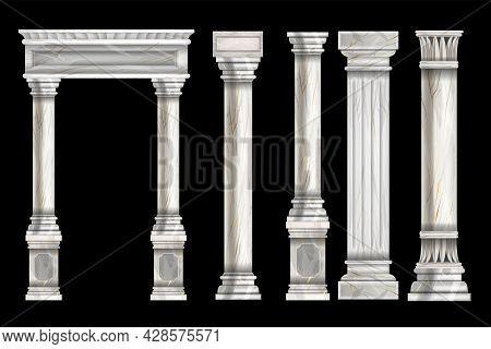 Roman Stone Column Set, Vector Marble Greek Pillar, Ancient Temple Architecture Design Element. Vint