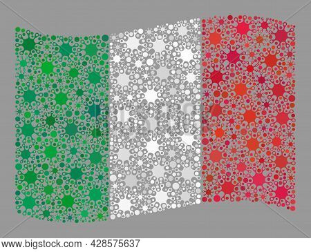 Waving Mosaic Italy Flag Created Of Virus Icons. Italy Flag Collage Is Made Of Scattered Bacteria Pa