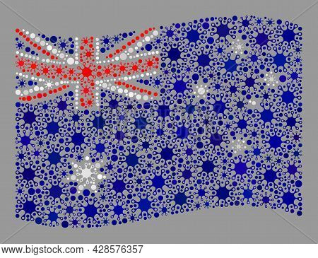 Waving Mosaic Australia Flag Designed With Contagious Icons. Australia Flag Collage Is Created With