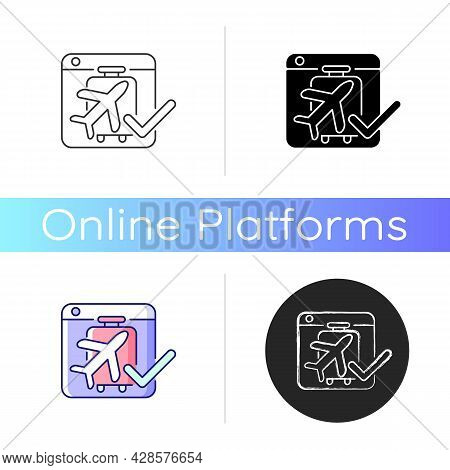 Online Booking Systems Icon. Self-booking And Paying Through Website. Trip Planning. Reservation Man