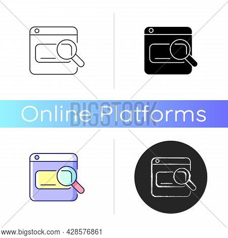 Search Engines Icon. Looking Up Information On Internet. Using Keywords, Phrases. Online Tool. User