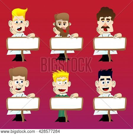 Funny Cartoon Doctor With Blank Paper On Wood. Vector Illustration. Health Care Worker Advertising W