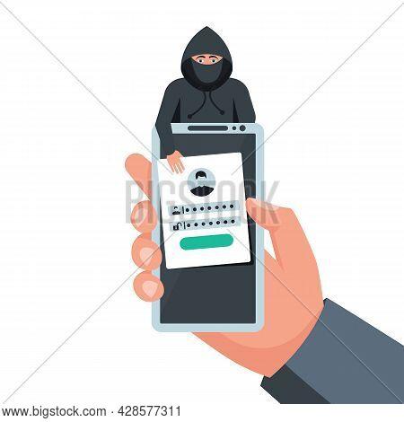 Hacked Account. Smartphone In Hand. Fraudster Steals Personal Data. Account Theft. Hacker Steals Dat