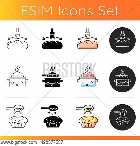 Food Cooking Instruction Icons Set. Greasing Bread Loaf With Oil For Baking. Steaming Lunch. Sprinkl