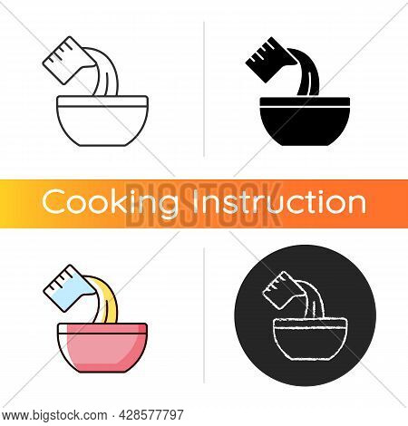 Pour Cooking Ingredient Icon. Adding Liquid To Bowl. Baking Process Step. Add Mixture. Cooking Instr