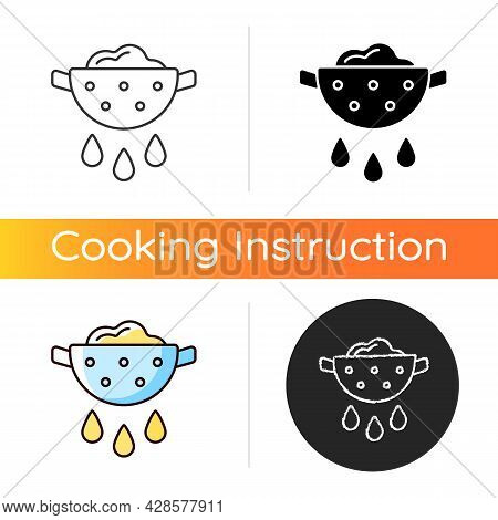 Drain Food Icon. Rinsing Pasta From Water. Product In Colander With Pouring Grease. Cooking Instruct