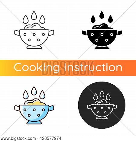 Rinse Cooking Ingredient Icon. Wash Rice On Bowl With Holes. Soaking Product As Cooking Instruction