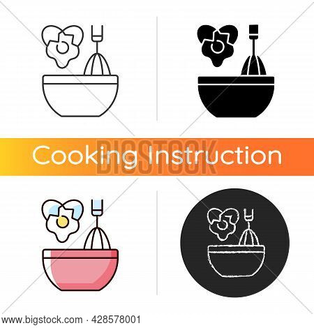 Scramble Cooking Ingredient Icon. Beating Eggs In Pot. Stirring In Bowl As Recipe Step. Cooking Inst