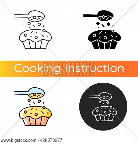 Sprinkle For Baking Icon. Pouring Topping From Spoon On Cupcake. Dessert Recipe. Cooking Instruction