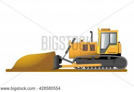 Bulldozer Shovels Soil Into A Heap. Construction Machinery. Flat Vector Illustration.