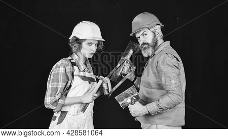 Couple Renovating House. Woman Builder Hard Hat. Man Engineer Or Architect. Gender Equality. Constru