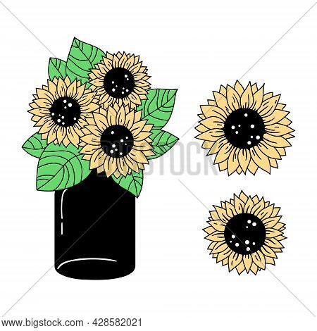 Sunflowers And Mason Jar Isolated Clipart, Colorful Floral Decorative Elements, Line Wildflower And