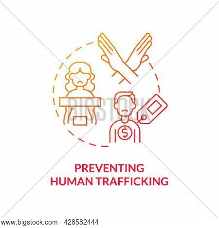 Preventing Human Trafficking Red Concept Icon. Anti Trafficking Measures Abstract Idea Thin Line Ill