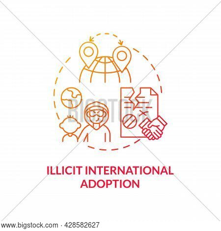 Illicit International Adoption Red Concept Icon. Illicit Foreign Adoptions Abstract Idea Thin Line I