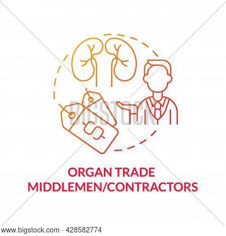Organ Trade Middlemen, Contractors Red Concept Icon. Underground Organ Trade Abstract Idea Thin Line