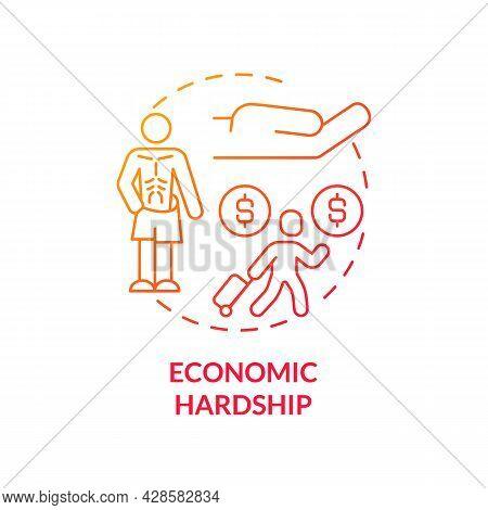 Economic Hardship Red Concept Icon. Poverty Consequences Abstract Idea Thin Line Illustration. Bonda