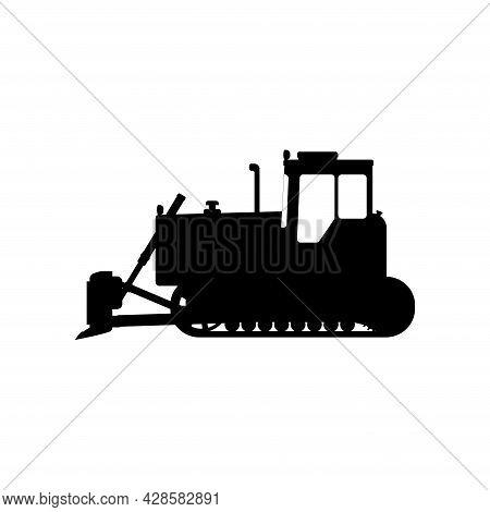 Crawler Bulldozer Icon. Construction Machinery. Flat Vector Illustration.