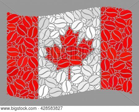 Mosaic Waving Canada Flag Created With Coffee Seed Icons. Vector Coffee Collage Waving Canada Flag C