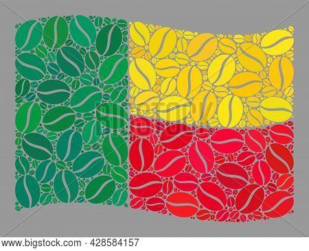 Mosaic Waving Benin Flag Is Designed Of Cacao Grain Elements. Vector Coffee Collage Waving Benin Fla
