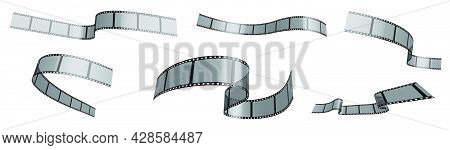 Set Of Photo Film Ribbons. Narrow Strips Of 35 Mm Tape For Filming Waving In Wind. Separation Into L