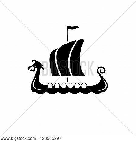 Drakkar Vikings Logo Vector Illustration. Viking Transport Warship. Design Template. Isolated On Whi