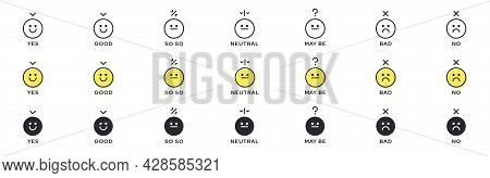 Emotion Icon Pack - Good, Bad, Maybe. Evaluation Or Rating - Good, Bad, Neutral. Vector Emotional Em