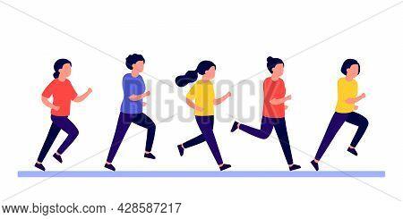 Group People Women Do Run Sport Active, Rush And Hurry. Women Running Marathon Race, Jogging, Racing