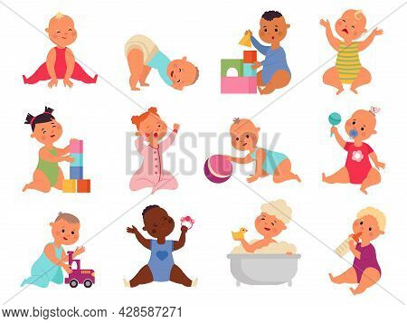 Newborn Baby Characters. Cute Toddler, Babies Isolated With Toys. Cartoon Smile Infants, Happy Activ