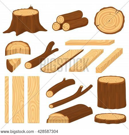 Cartoon Wood Logs. Material Wooden Timber, Cracks Tree Log. Stump And Trunk, Cracked Surface. Vintag