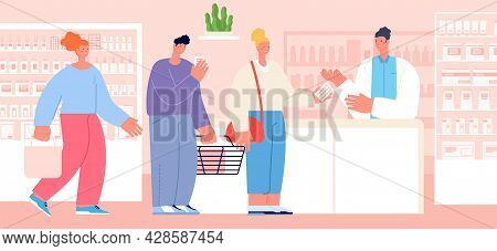 Pharmacy Customer. Drug Seller At Counter, Pharmacist Consult Patient In Drugstore. Store Client Que