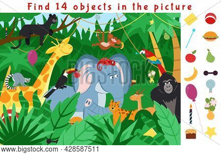 Hidden Object Puzzle. Kid Learning Game, Find Objects In Jungle Forest. School Educational Worksheet