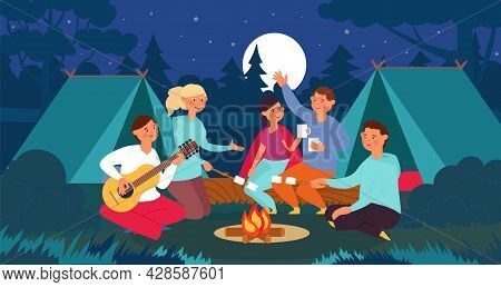 People Sitting Bonfire. Summer Night, Friends On Campfire In Forest. Man Playing Guitar, Family Or S
