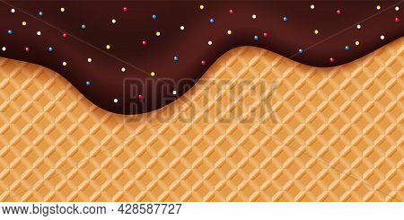 Choco Glaze Waffle. Sweet Dripping Choco Liquid With Colorful Bonbons. Dessert Vector Background