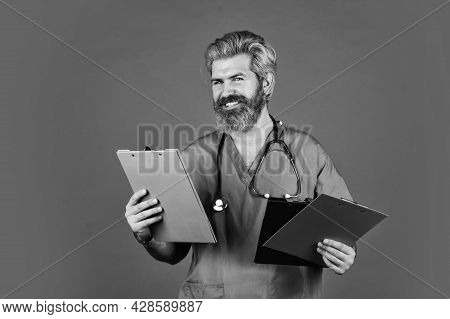 Private Clinic. Man Bearded Handsome Doctor Work At Hospital. Medical Treatment Concept. Virus Infec
